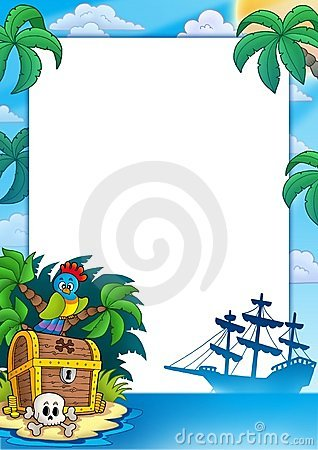 Free Pirate Frame With Treasure Island Royalty Free Stock Image - 14334476