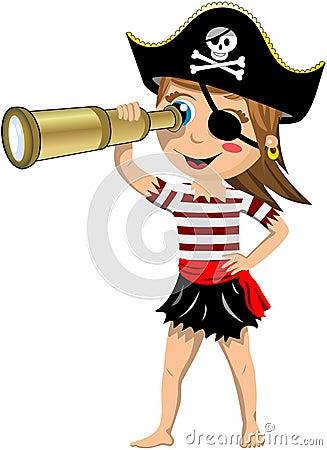Pirate Girl Looking Through Telescope