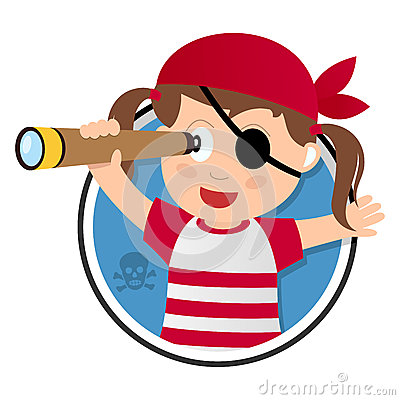 Pirate Girl with Spyglass Logo