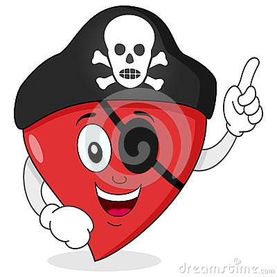 Pirate Heart with Eye Patch Character