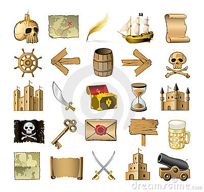 Free Pirate Icons Royalty Free Stock Image - 9668606