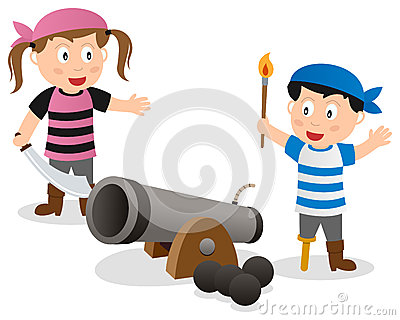 Pirate Kids with Cannon