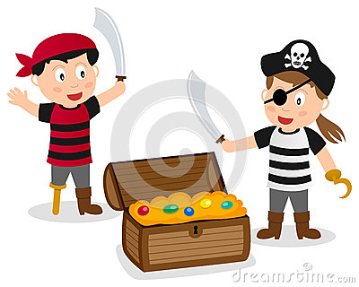 Pirate Kids with Treasure Box