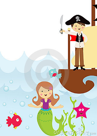 Pirate And Mermaid In The Sea Royalty Free Stock Photo