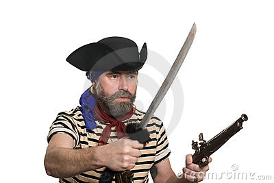 Pirate with a musket and sword