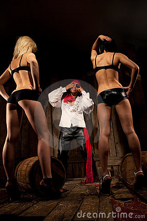 Pirate  with pair Sexy girls
