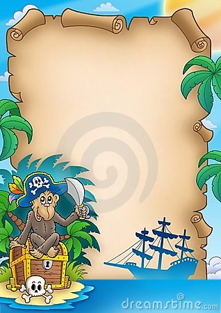 Pirate parchment with monkey