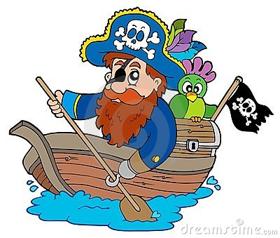 Pirate with parrot paddling in boat