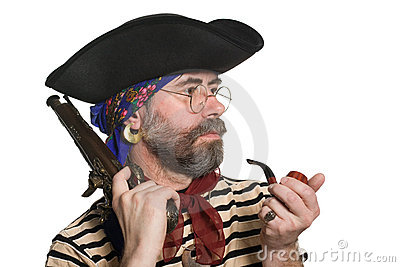 Pirate with a pipe and a musket.