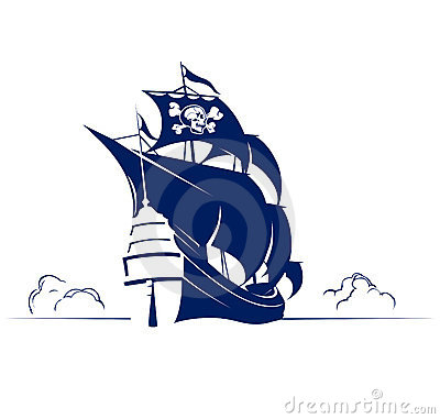 Pirate retro ship with skull and bones flag