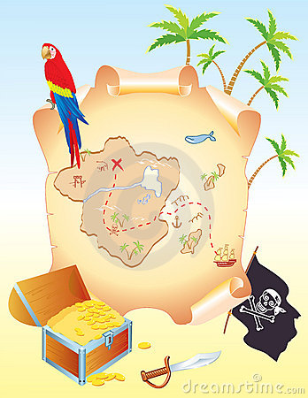 Pirate s treasure with parrot