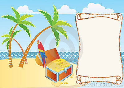 Pirate s treasure with parrot and palms.