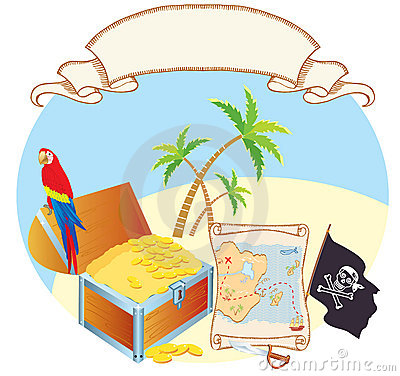 Pirate s treasure with parrot and palms. Vector