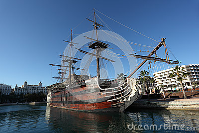 Pirate sail ship in Alicante, Spain Editorial Photo