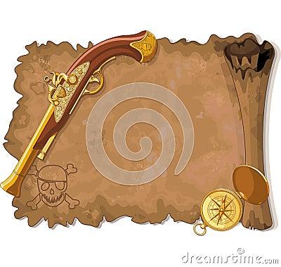 Pirate Scroll, Gun and Compass