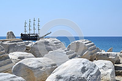 Pirate ship in front side