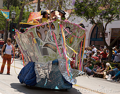 A Pirate Ship in Santa Barbara Solstice Parade Editorial Stock Image