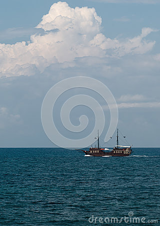 Pirate ship in the sea