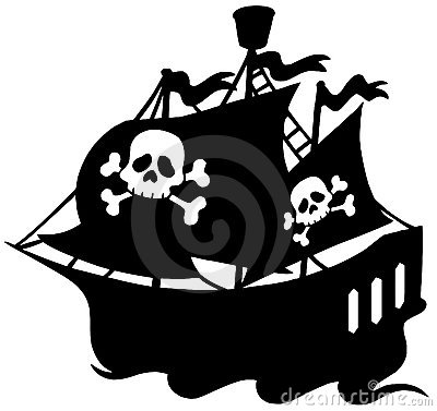 Free Pirate Ship Silhouette Royalty Free Stock Photo - 10702265