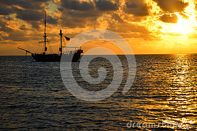 Pirate Ship Sunrise