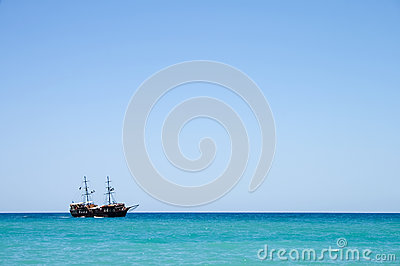 Pirate ship with tourists at sea in Crete, Greece
