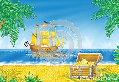 Pirate ship and treasure chest