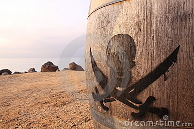 Pirate sign on a wooden barrel