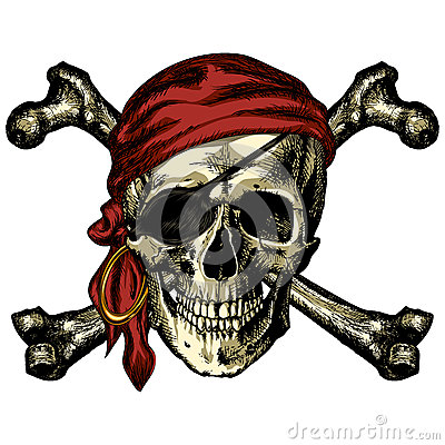 Free Pirate Skull And Crossbones Bandana And An Earring Royalty Free Stock Image - 78277006