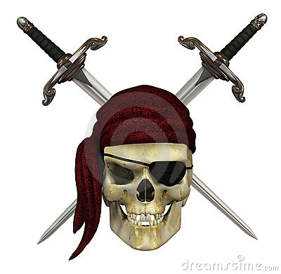 Free Pirate Skull With Daggers Stock Image - 21454011