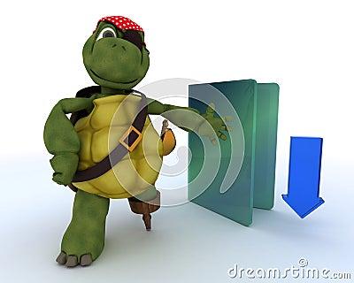 Pirate Tortoise depicting illegal downloads