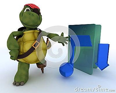 Pirate Tortoise depicting illegal music downloads