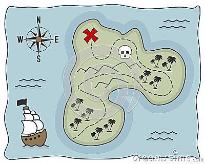 Pirate Treasure Island Map