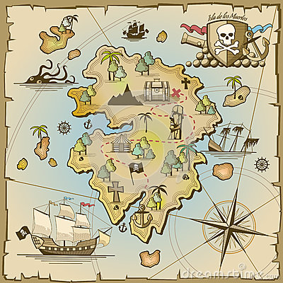 Free Pirate Treasure Island Vector Map Royalty Free Stock Photography - 61710417