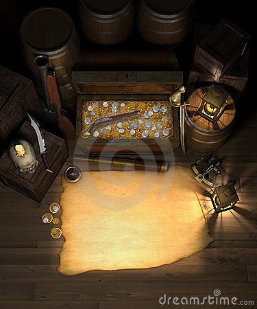 Pirate Treasure and map
