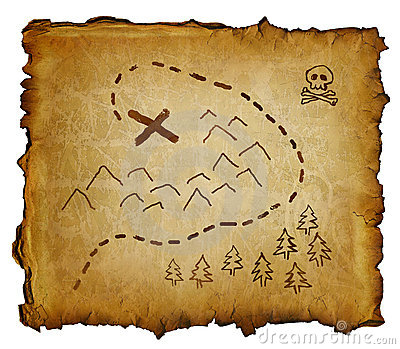 Parchment with treasure map and skull and crossbones. X marks the spot ...