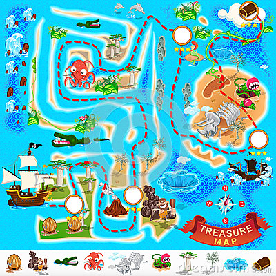 Free Pirate Treasure Map Royalty Free Stock Photos - 37451788