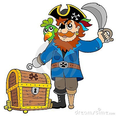 Free Pirate With Old Treasure Chest Royalty Free Stock Photography - 14243417