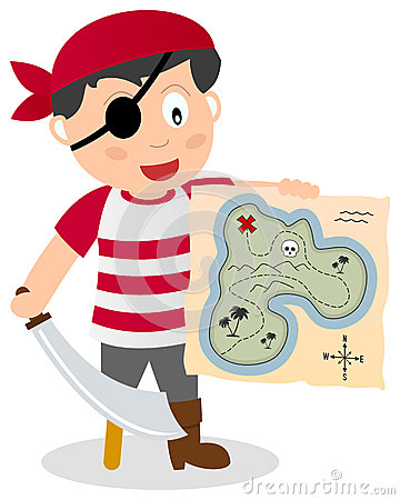 Free Pirate With Treasure Map Stock Image - 30449501