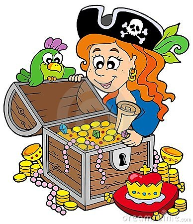 Free Pirate Woman Opening Treasure Chest Royalty Free Stock Image - 11853756