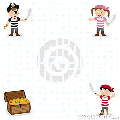 Piraten und schatz packen labyrinthspiel für kinder ein helfen sie