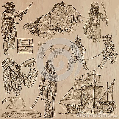 Free Pirates - An Hand Drawn Vector Pack Royalty Free Stock Photo - 45501995