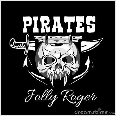 Pirates Jolly Roger Symbol Vector Poster Of Skull With Pirate Eye