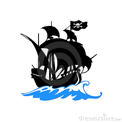 Free Pirates Ship On Sea Vector Royalty Free Stock Photos - 10057188