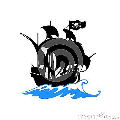 Pirates ship on sea vector