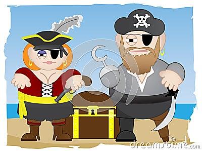 Pirates stand on beach