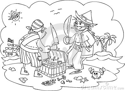 Pirates with treasure vector
