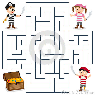 Pirates and treasure box maze game for children. Help the three ...