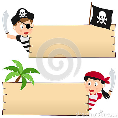 Pirates and Wooden Banner