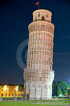 Pisa, The Leaning Tower at night. Tuscany, Italy.