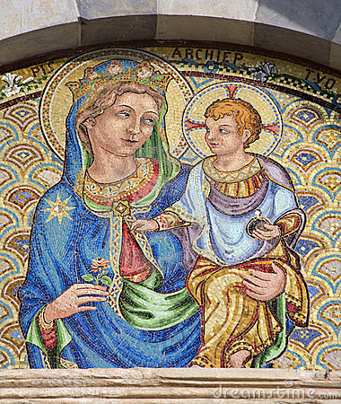 Pisa - mosaic of holy mary with the Jesus